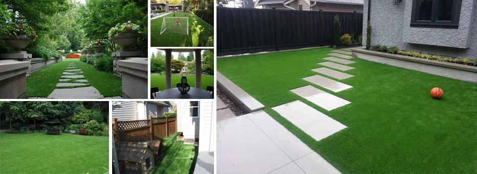 calgary-artificial-turf-collage Calgary Artificial Grass Lawns